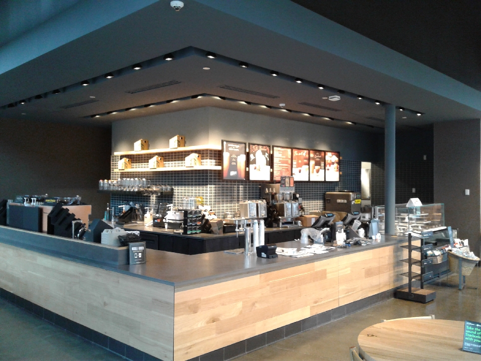 starbucks interior store and counter display commercial lighting