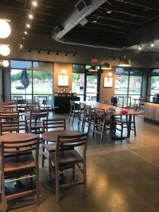 starbucks dining and lounge area ceiling and overhead commercial lighting and wiring installations